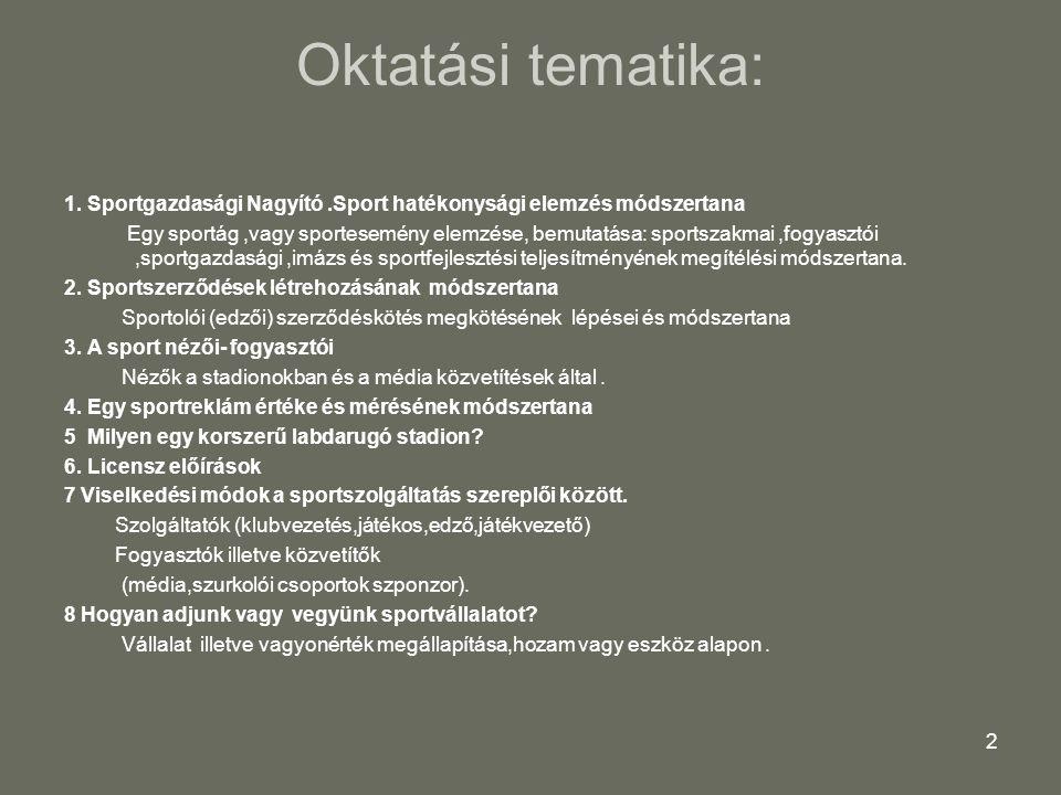 Oktatási tematika: 1. Sportgazdasági Nagyító .Sport hatékonysági elemzés módszertana.