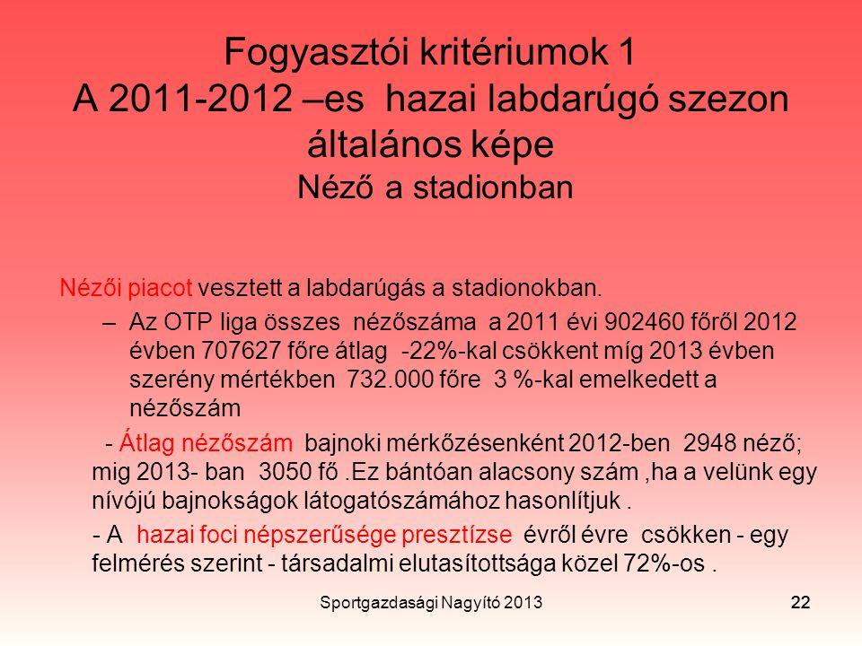 Sportgazdasági Nagyító 2013