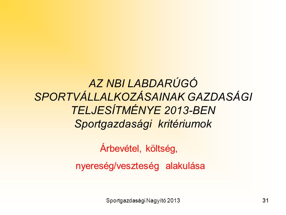 AZ NBI LABDARÚGÓ SPORTVÁLLALKOZÁSAINAK GAZDASÁGI TELJESÍTMÉNYE 2013-BEN Sportgazdasági kritériumok