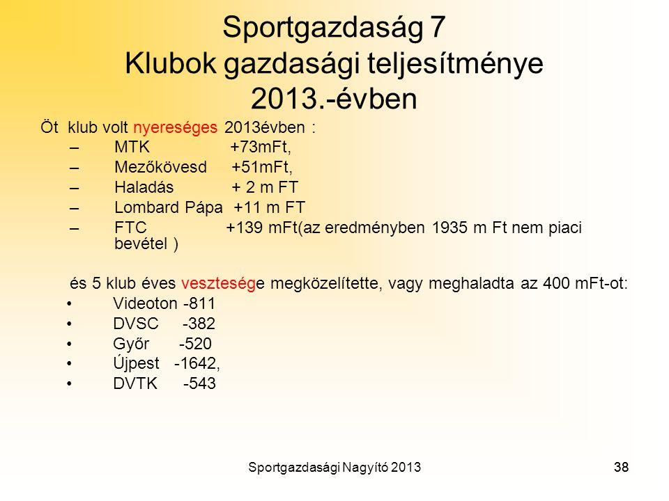 Sportgazdaság 7 Klubok gazdasági teljesítménye 2013.-évben