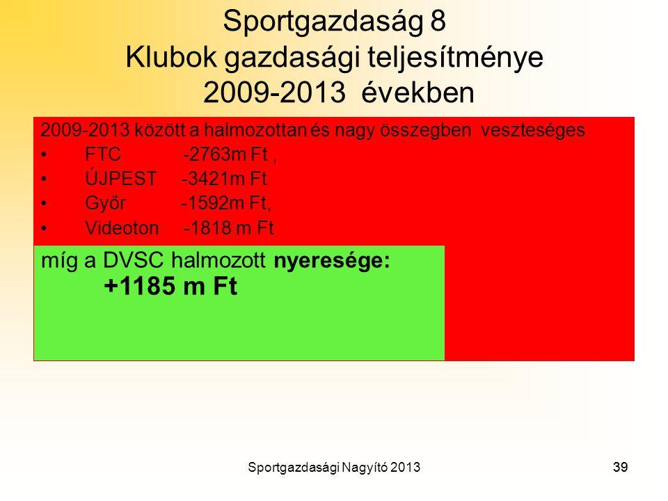 Sportgazdaság 8 Klubok gazdasági teljesítménye 2009-2013 években