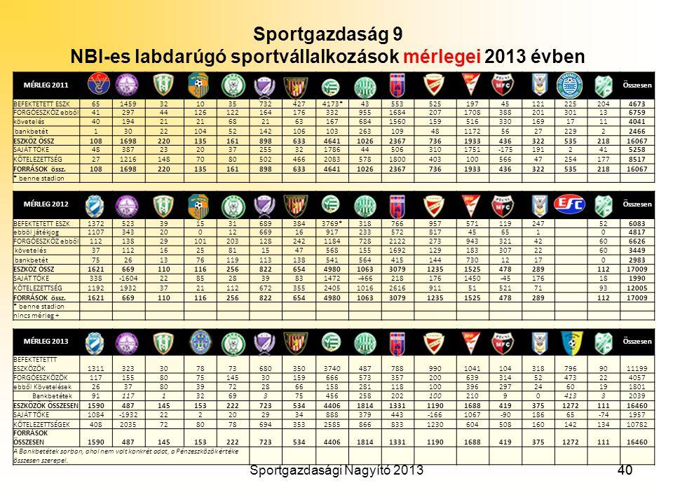 NBI-es labdarúgó sportvállalkozások mérlegei 2013 évben