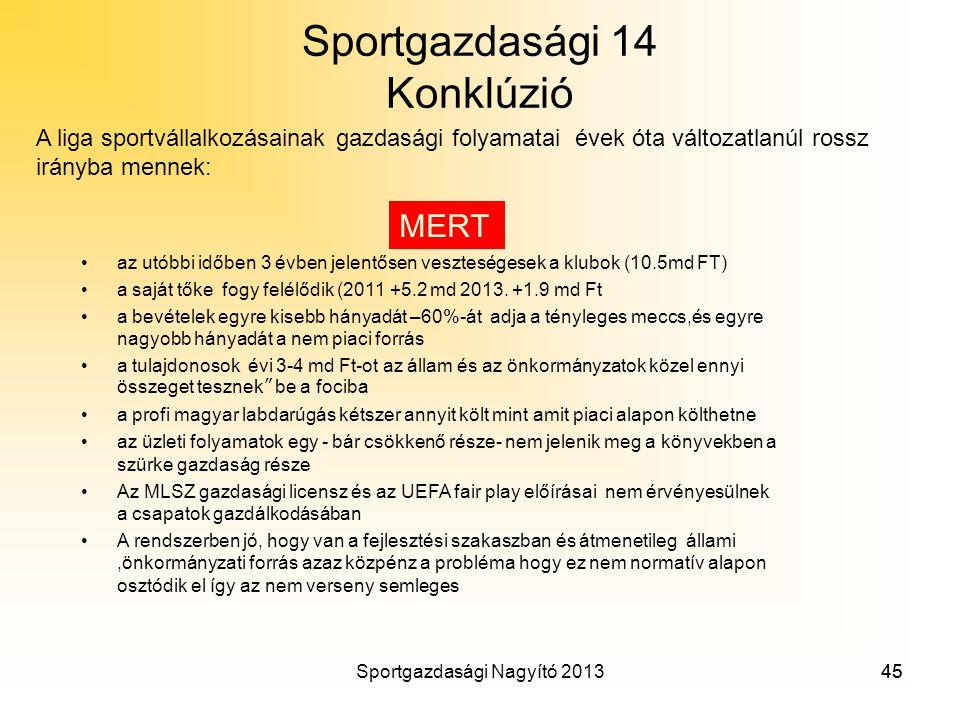 Sportgazdasági 14 Konklúzió