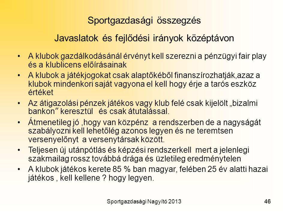Sportgazdasági összegzés Javaslatok és fejlődési irányok középtávon