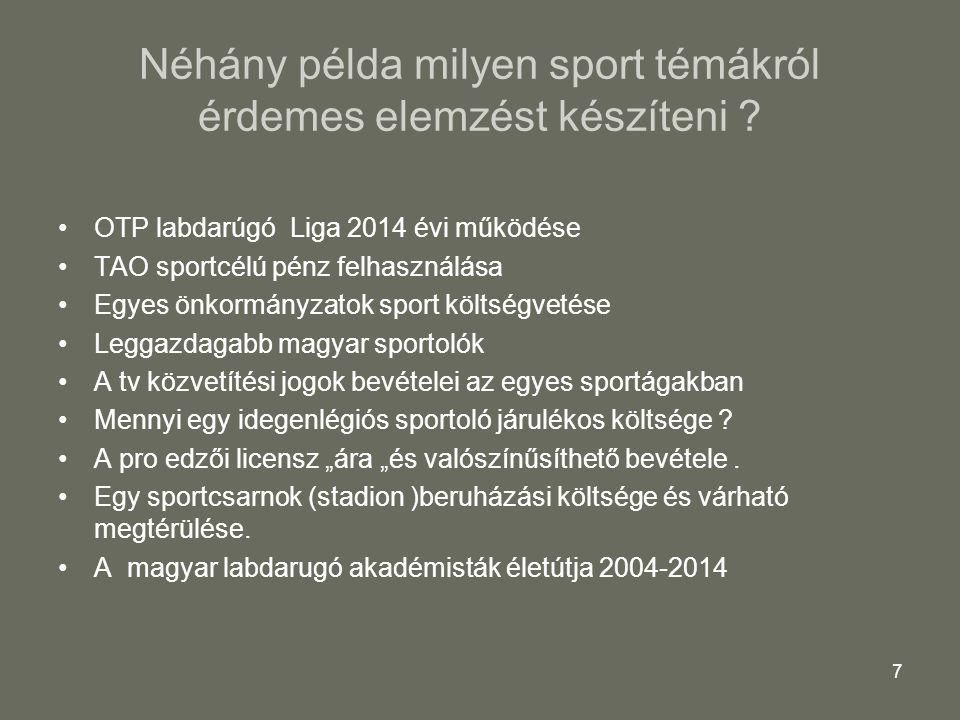 Néhány példa milyen sport témákról érdemes elemzést készíteni