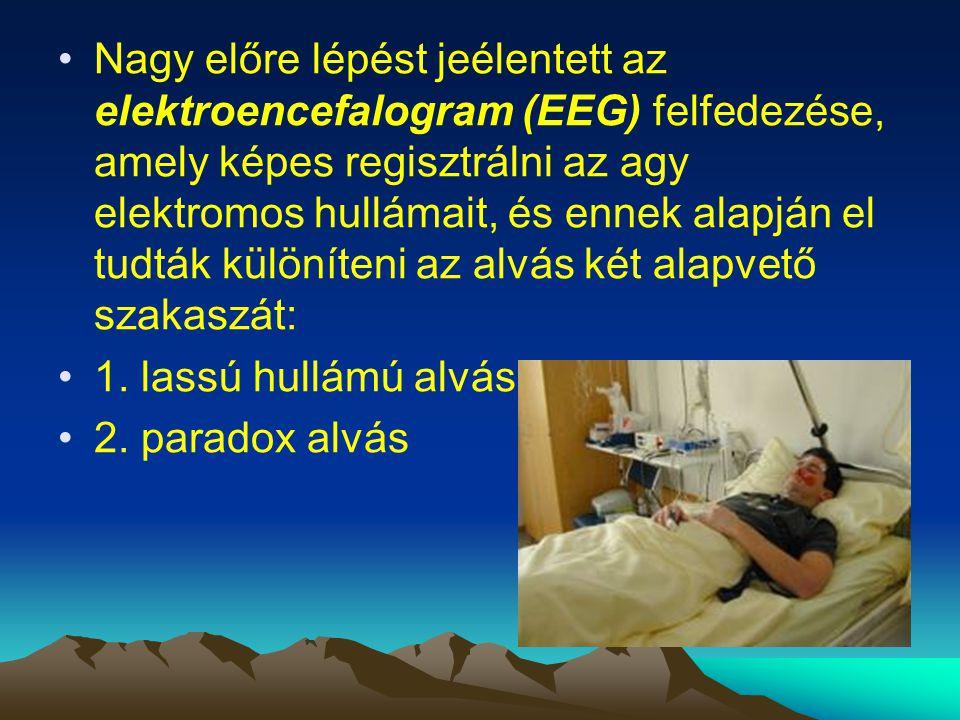 Nagy előre lépést jeélentett az elektroencefalogram (EEG) felfedezése, amely képes regisztrálni az agy elektromos hullámait, és ennek alapján el tudták különíteni az alvás két alapvető szakaszát: