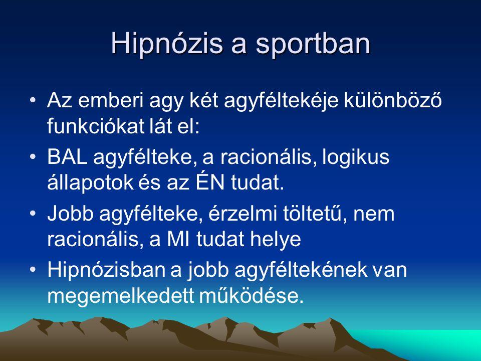 Hipnózis a sportban Az emberi agy két agyféltekéje különböző funkciókat lát el: BAL agyfélteke, a racionális, logikus állapotok és az ÉN tudat.