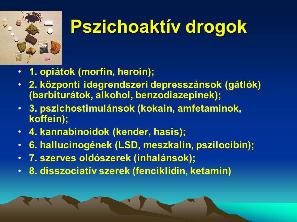Pszichoaktív drogok 1. opiátok (morfin, heroin);