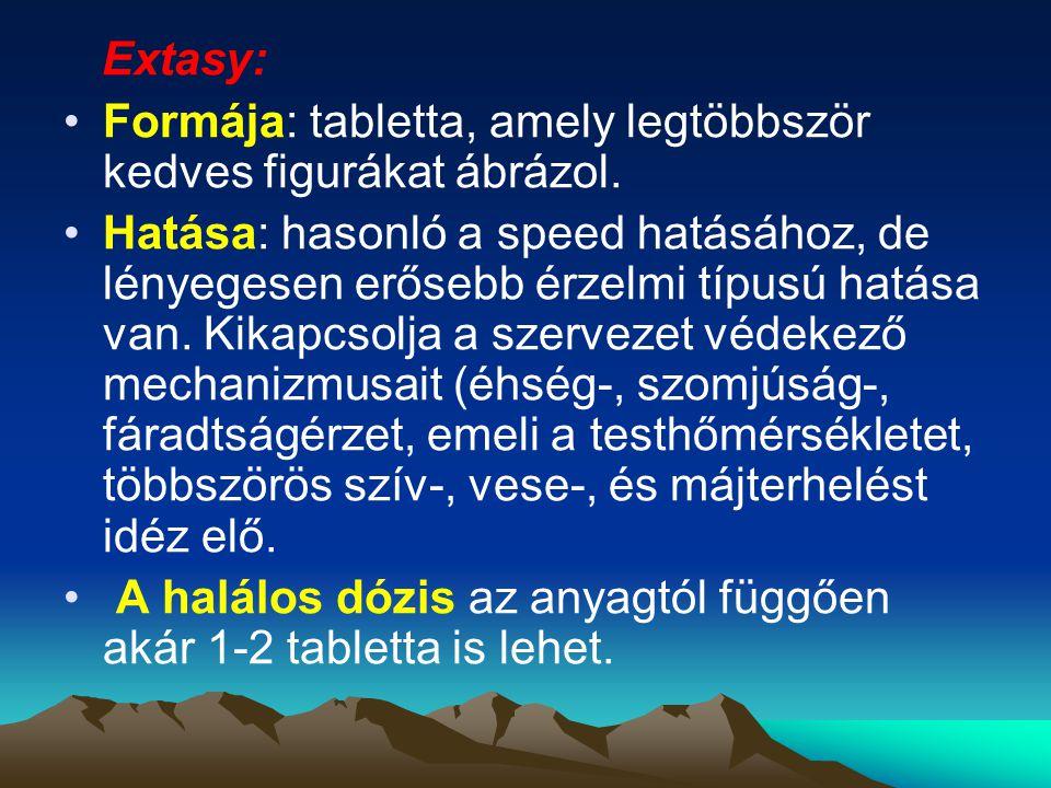 Extasy: Formája: tabletta, amely legtöbbször kedves figurákat ábrázol.