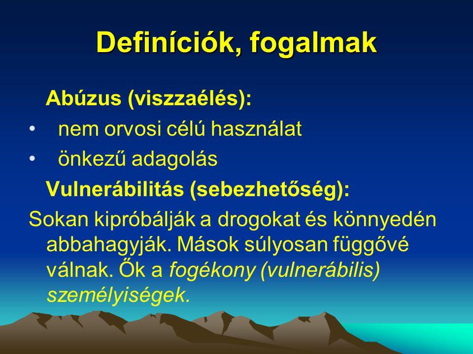 Definíciók, fogalmak Abúzus (viszzaélés): nem orvosi célú használat
