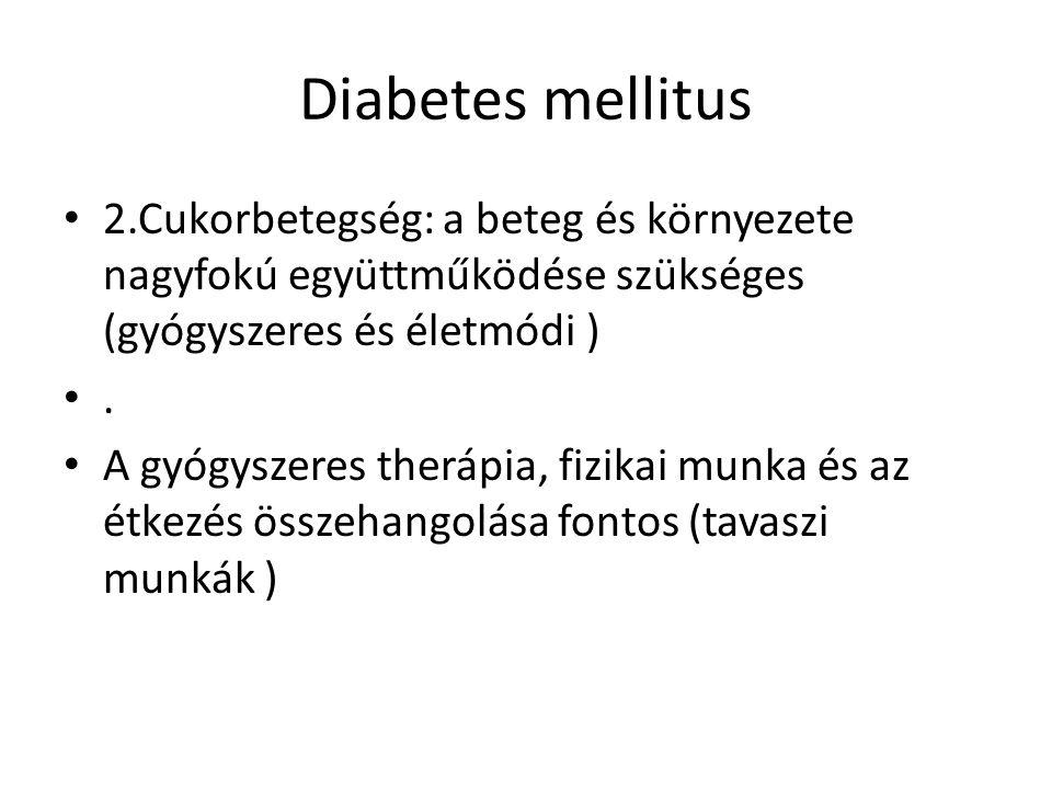 Diabetes mellitus 2.Cukorbetegség: a beteg és környezete nagyfokú együttműködése szükséges (gyógyszeres és életmódi )