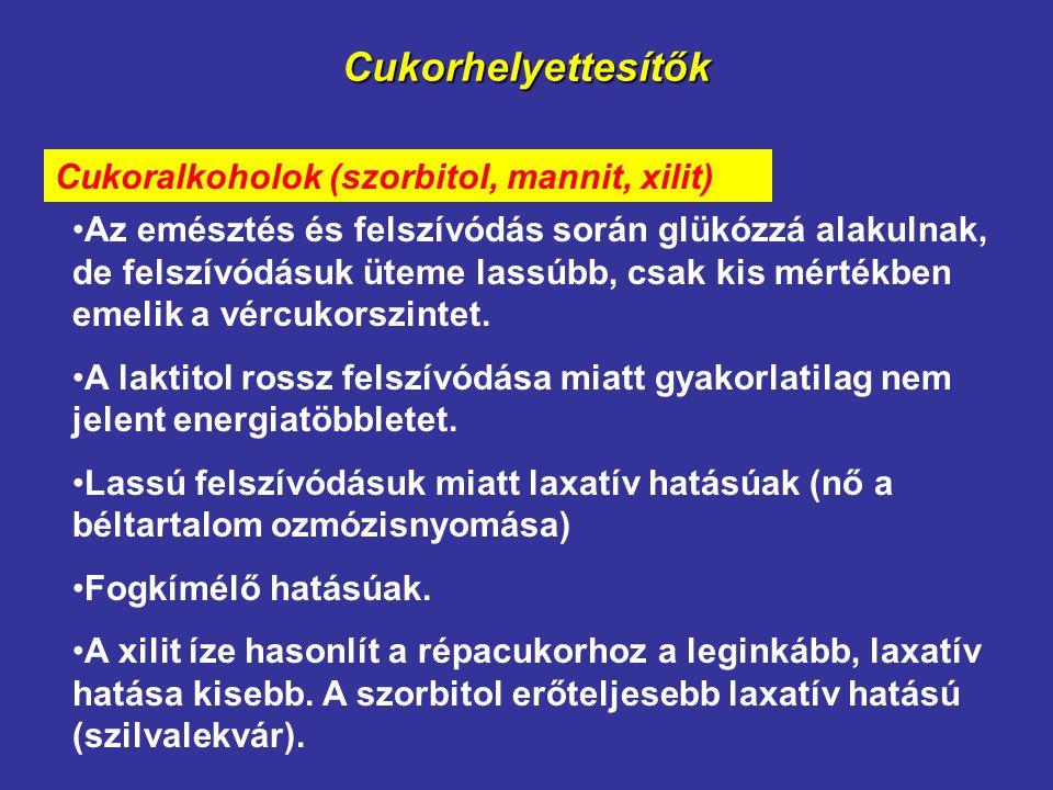 Cukorhelyettesítők Cukoralkoholok (szorbitol, mannit, xilit)
