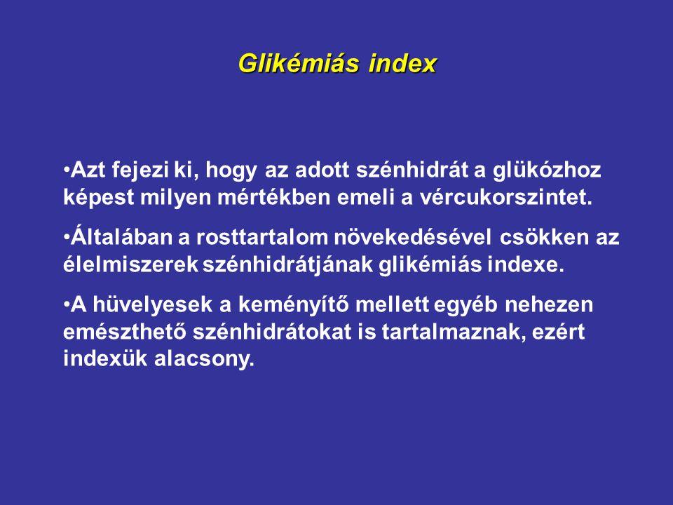 Glikémiás index Azt fejezi ki, hogy az adott szénhidrát a glükózhoz képest milyen mértékben emeli a vércukorszintet.