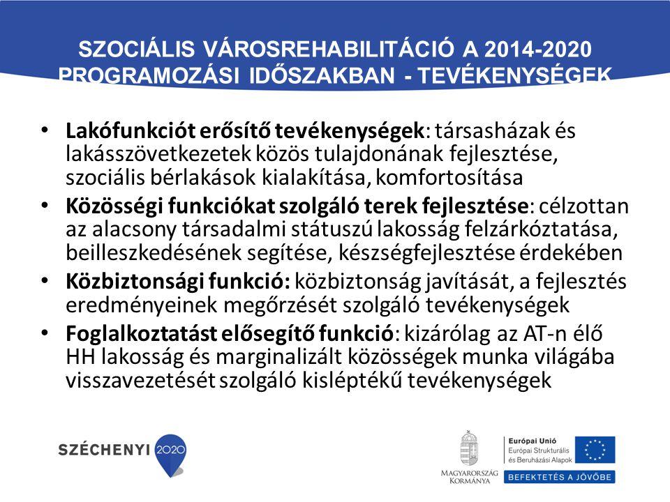 Szociális városrehabilitáció a 2014-2020 programozási időszakban - Tevékenységek