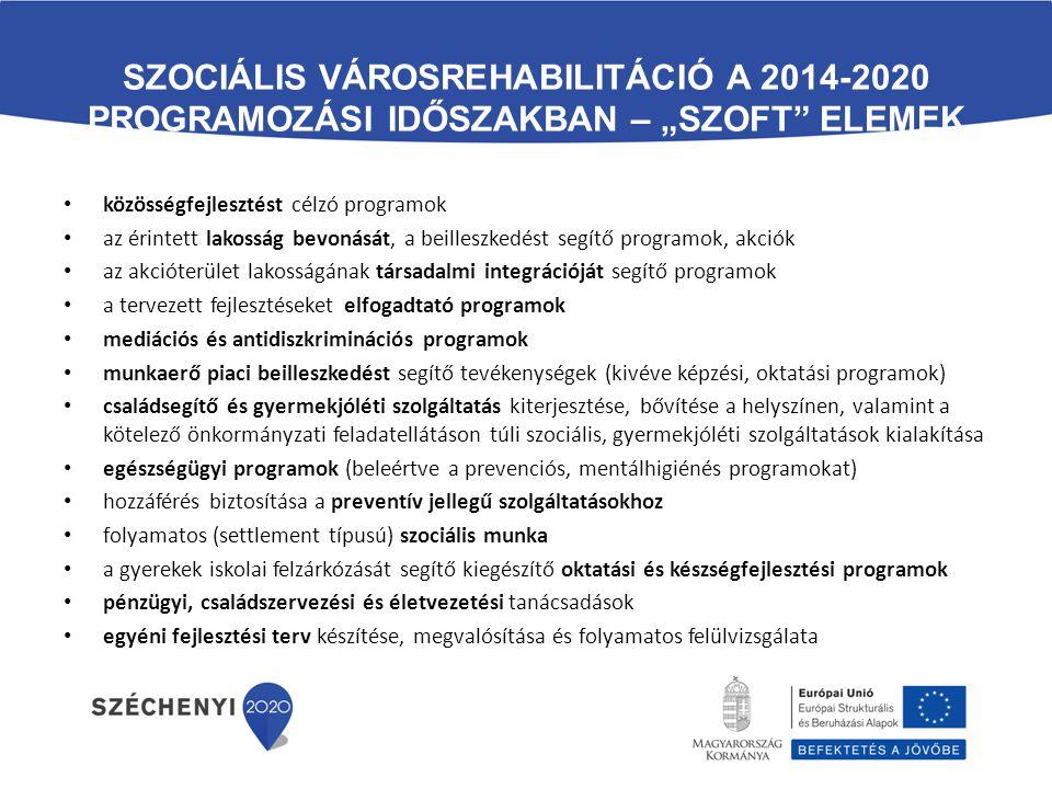 """Szociális városrehabilitáció a 2014-2020 programozási időszakban – """"szoft elemek"""