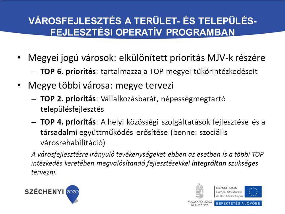 Megyei jogú városok: elkülönített prioritás MJV-k részére