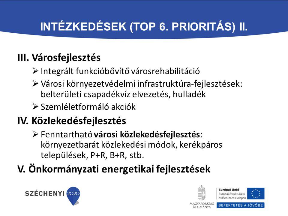 Intézkedések (TOP 6. prioritás) II.