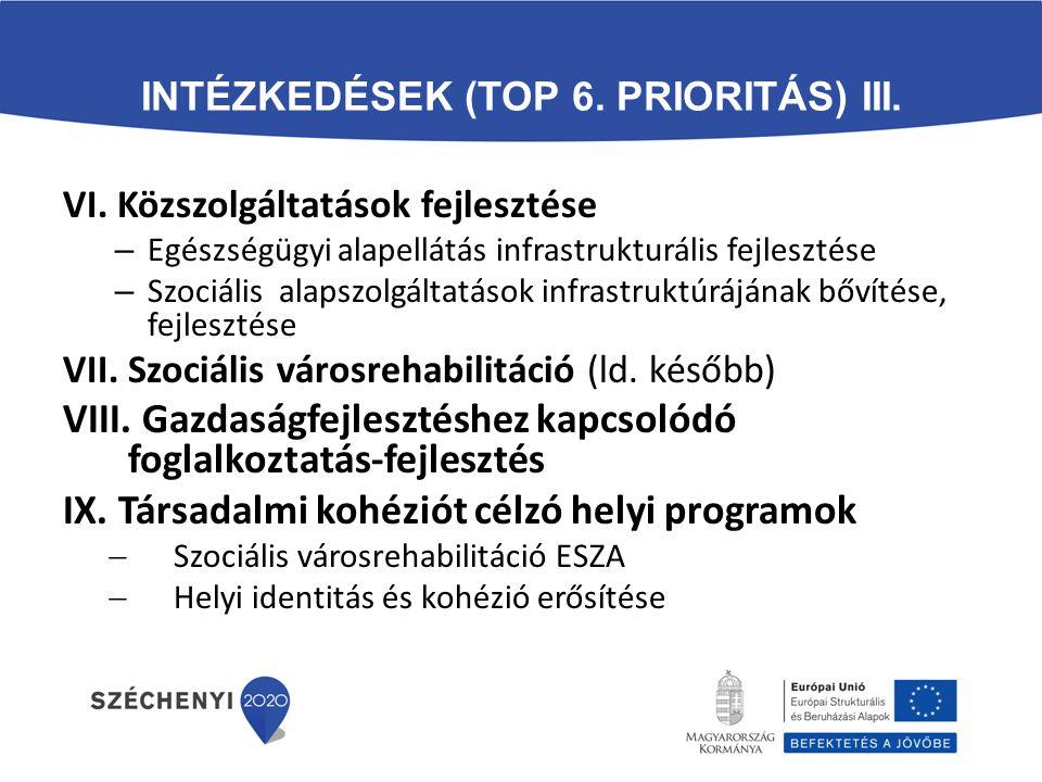 Intézkedések (TOP 6. prioritás) III.