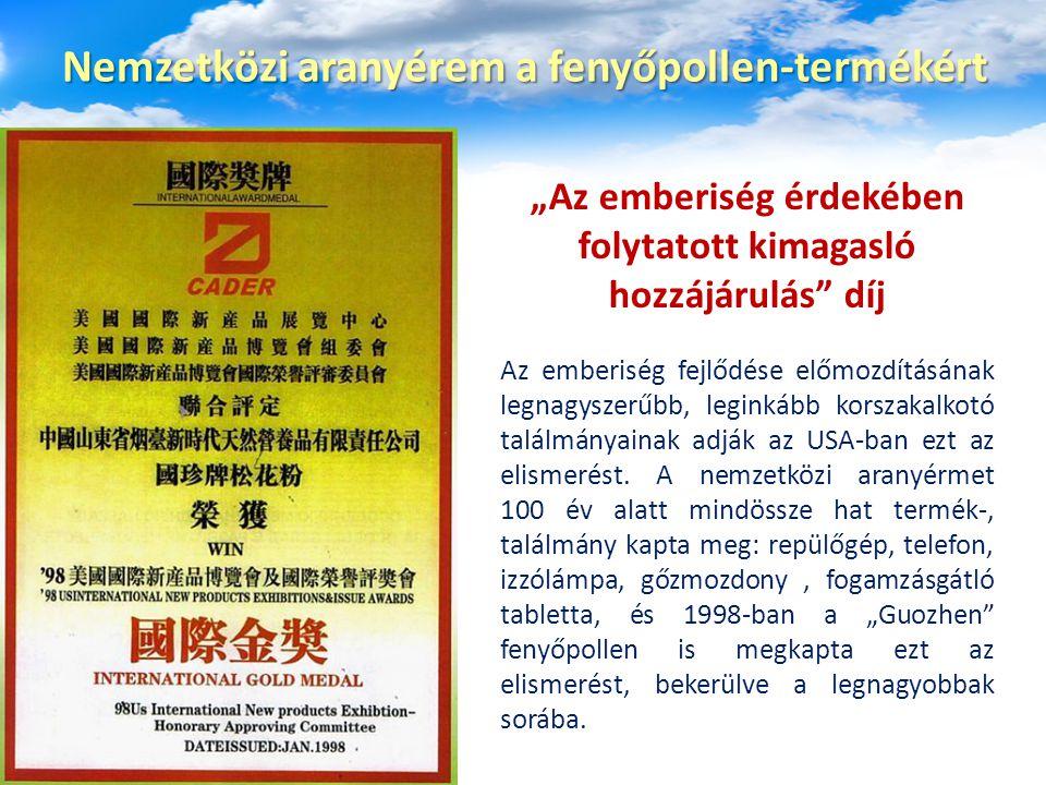 Nemzetközi aranyérem a fenyőpollen-termékért