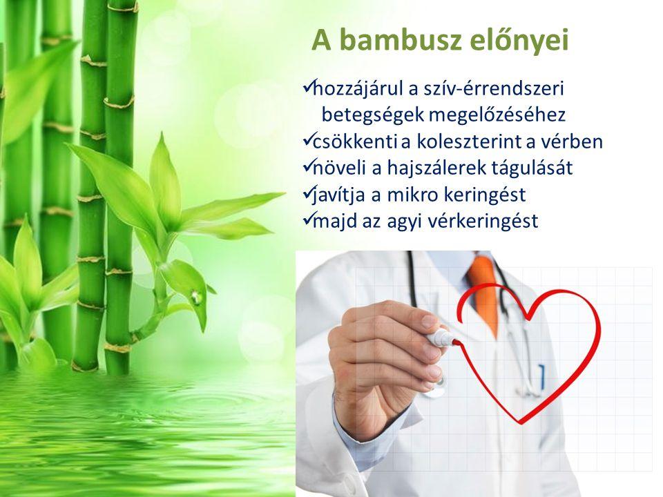 A bambusz előnyei hozzájárul a szív-érrendszeri betegségek megelőzéséhez. csökkenti a koleszterint a vérben.