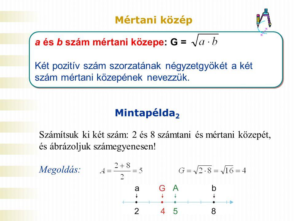 Mértani közép a és b szám mértani közepe: G = Két pozitív szám szorzatának négyzetgyökét a két szám mértani közepének nevezzük.