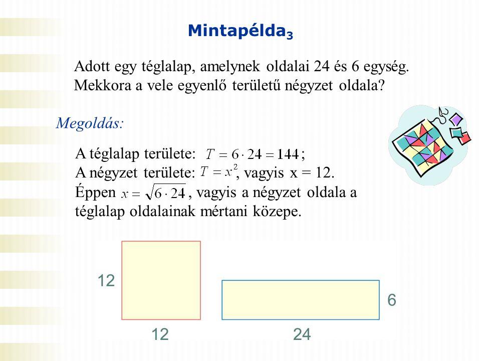 Mintapélda3 Adott egy téglalap, amelynek oldalai 24 és 6 egység. Mekkora a vele egyenlő területű négyzet oldala