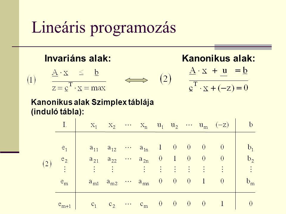 Lineáris programozás Invariáns alak: Kanonikus alak:
