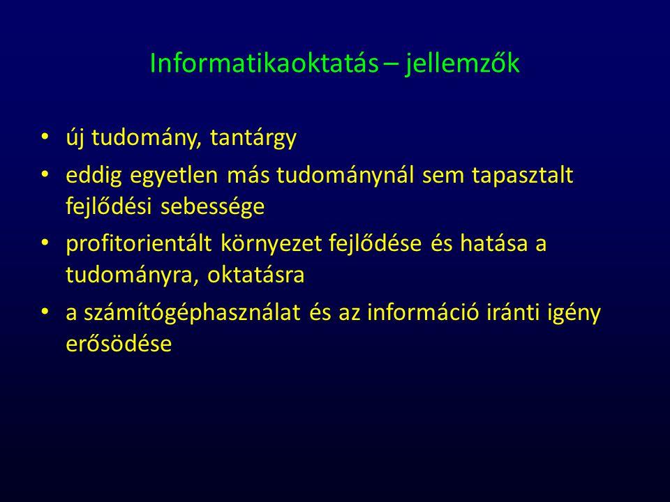 Informatikaoktatás – jellemzők