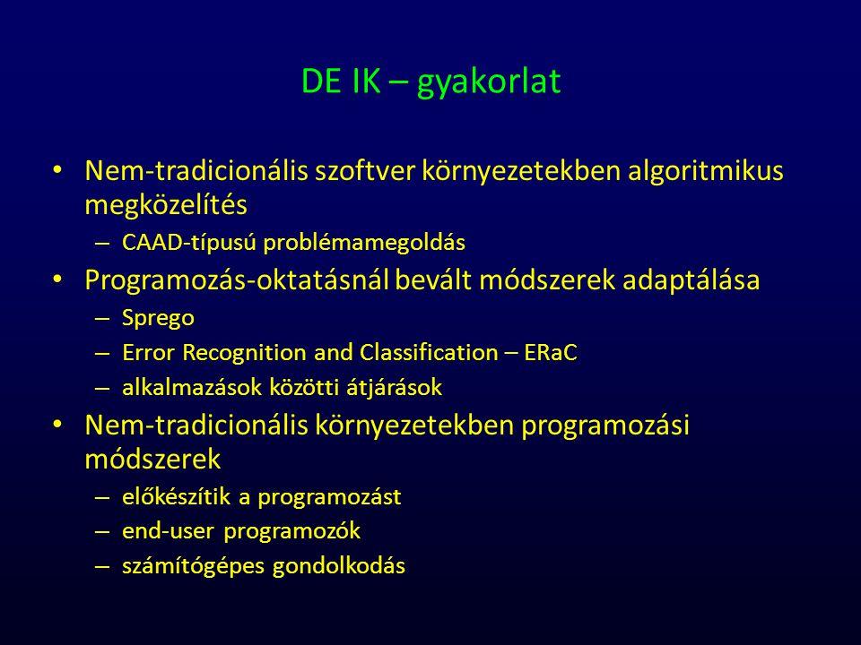 DE IK – gyakorlat Nem-tradicionális szoftver környezetekben algoritmikus megközelítés. CAAD-típusú problémamegoldás.
