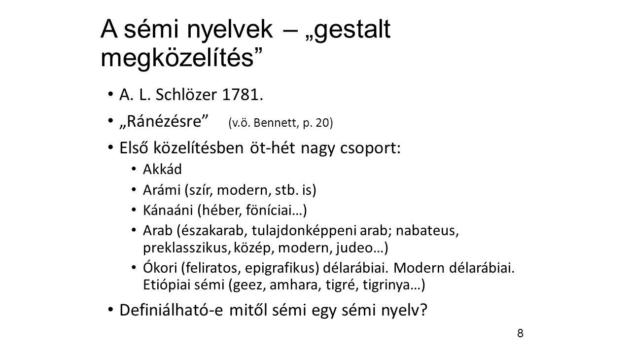 """A sémi nyelvek – """"gestalt megközelítés"""