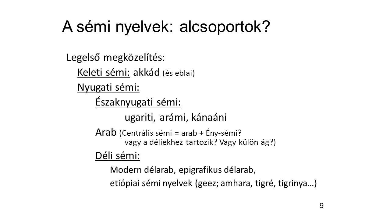 A sémi nyelvek: alcsoportok