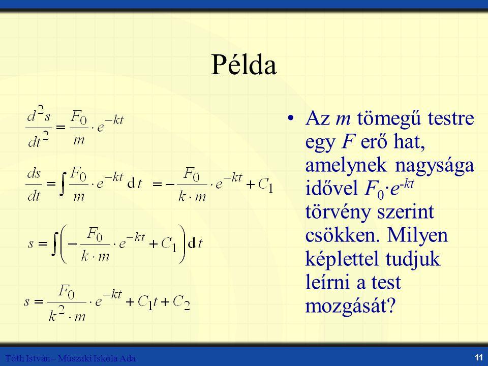 Példa Az m tömegű testre egy F erő hat, amelynek nagysága idővel F0·e-kt törvény szerint csökken. Milyen képlettel tudjuk leírni a test mozgását