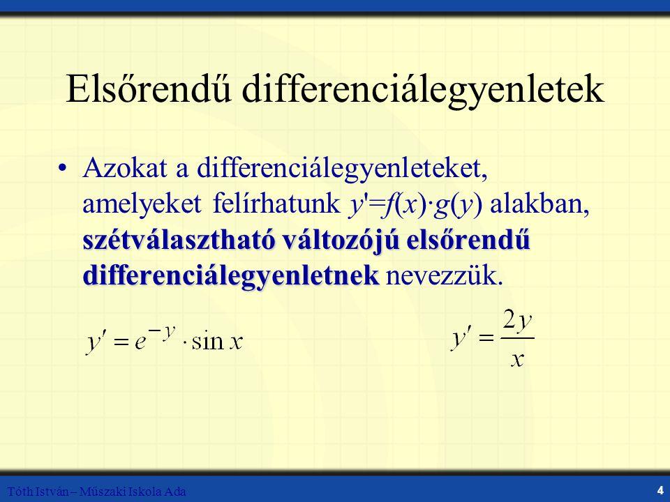 Elsőrendű differenciálegyenletek