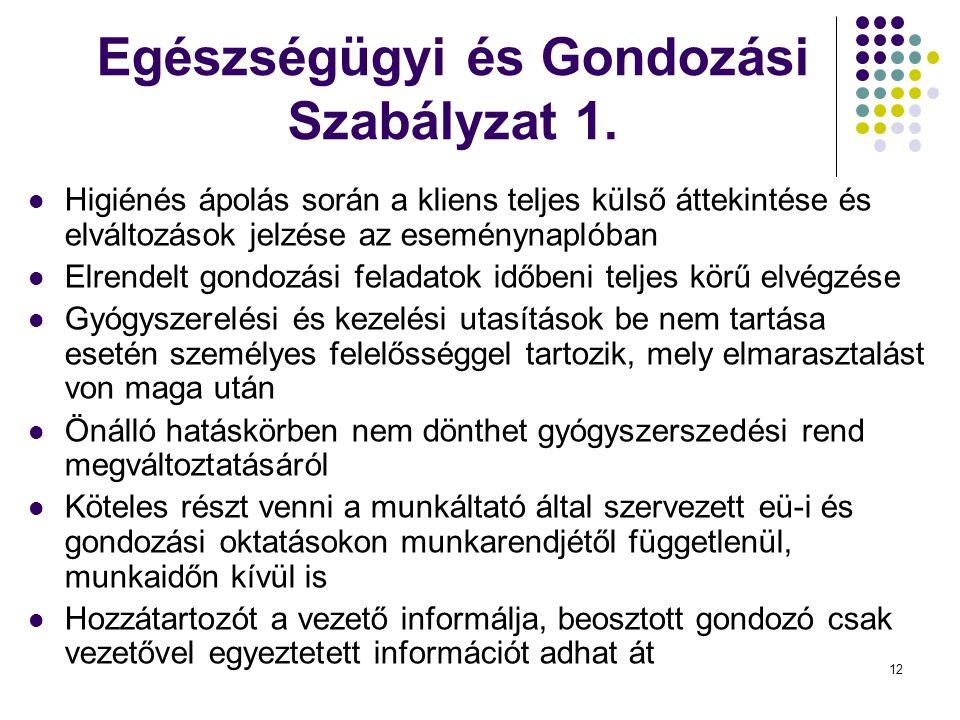 Egészségügyi és Gondozási Szabályzat 1.