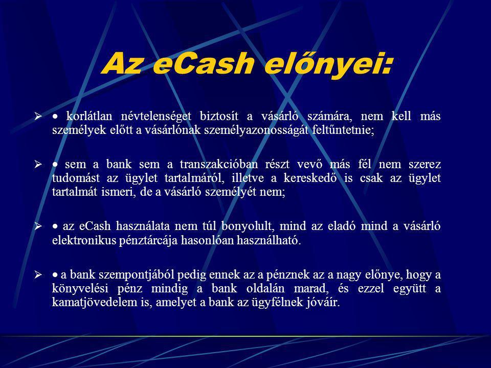 Az eCash előnyei: · korlátlan névtelenséget biztosít a vásárló számára, nem kell más személyek előtt a vásárlónak személyazonosságát feltűntetnie;