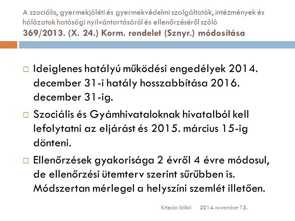 A szociális, gyermekjóléti és gyermekvédelmi szolgáltatók, intézmények és hálózatok hatósági nyilvántartásáról és ellenőrzéséről szóló 369/2013. (X. 24.) Korm. rendelet (Sznyr.) módosítása