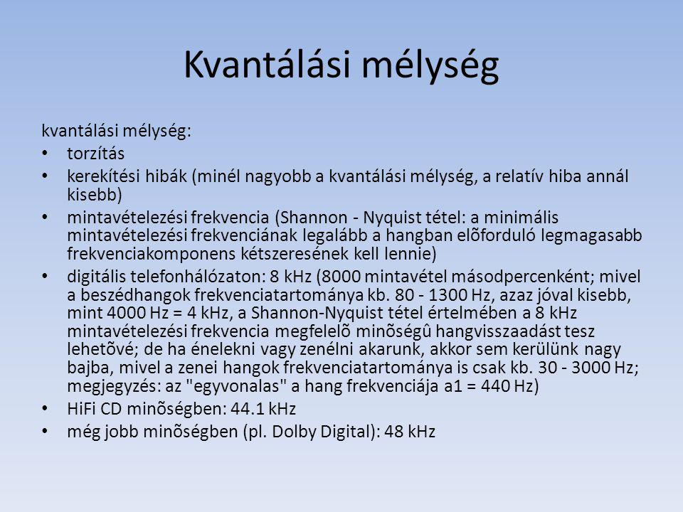 Kvantálási mélység kvantálási mélység: torzítás