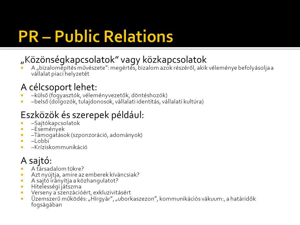 """PR – Public Relations """"Közönségkapcsolatok vagy közkapcsolatok"""
