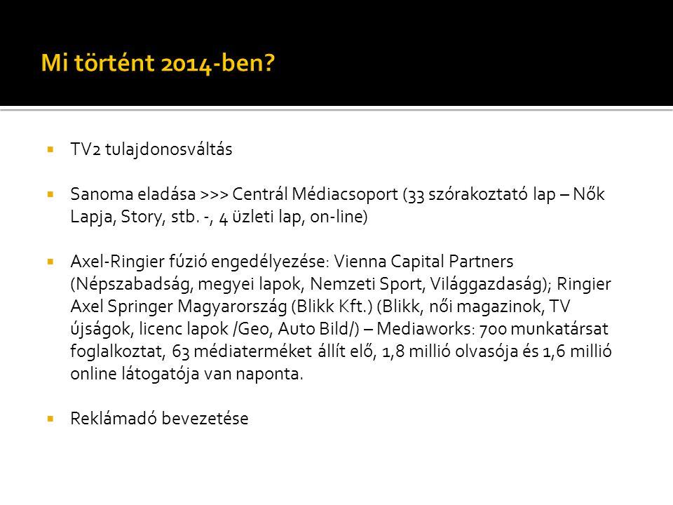 Mi történt 2014-ben TV2 tulajdonosváltás