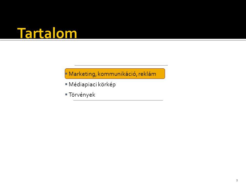 Tartalom Marketing, kommunikáció, reklám Médiapiaci körkép Törvények