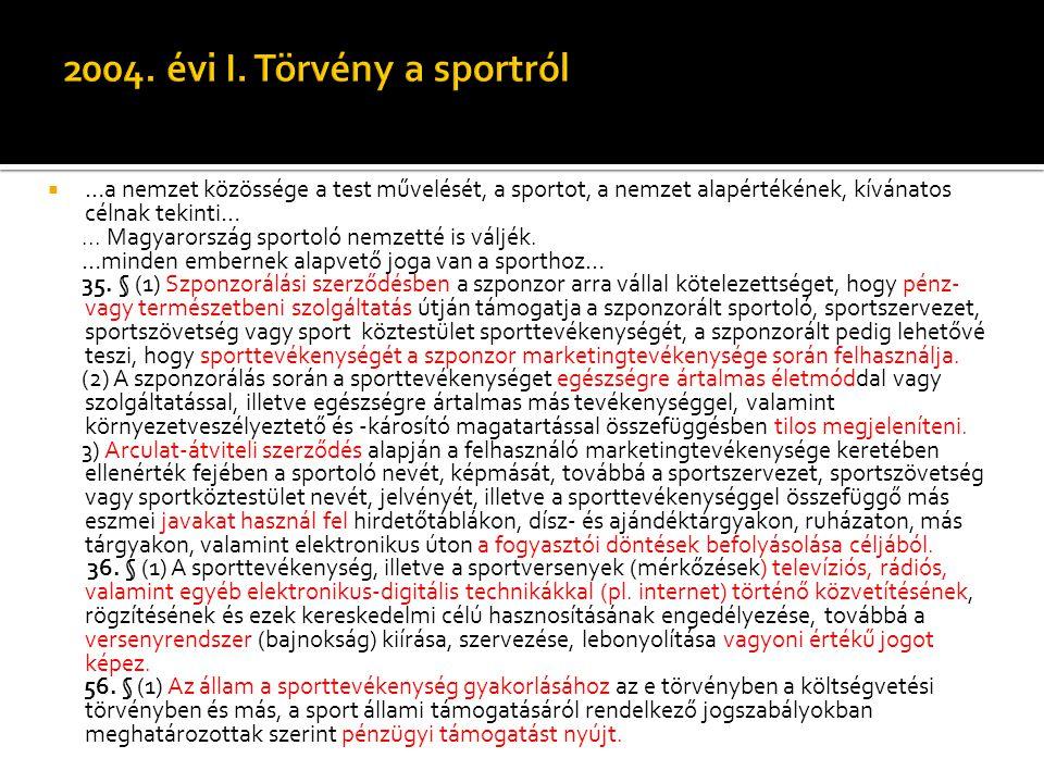 2004. évi I. Törvény a sportról