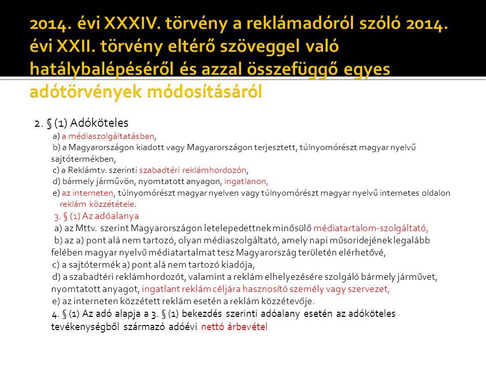 2014. évi XXXIV. törvény a reklámadóról szóló 2014. évi XXII