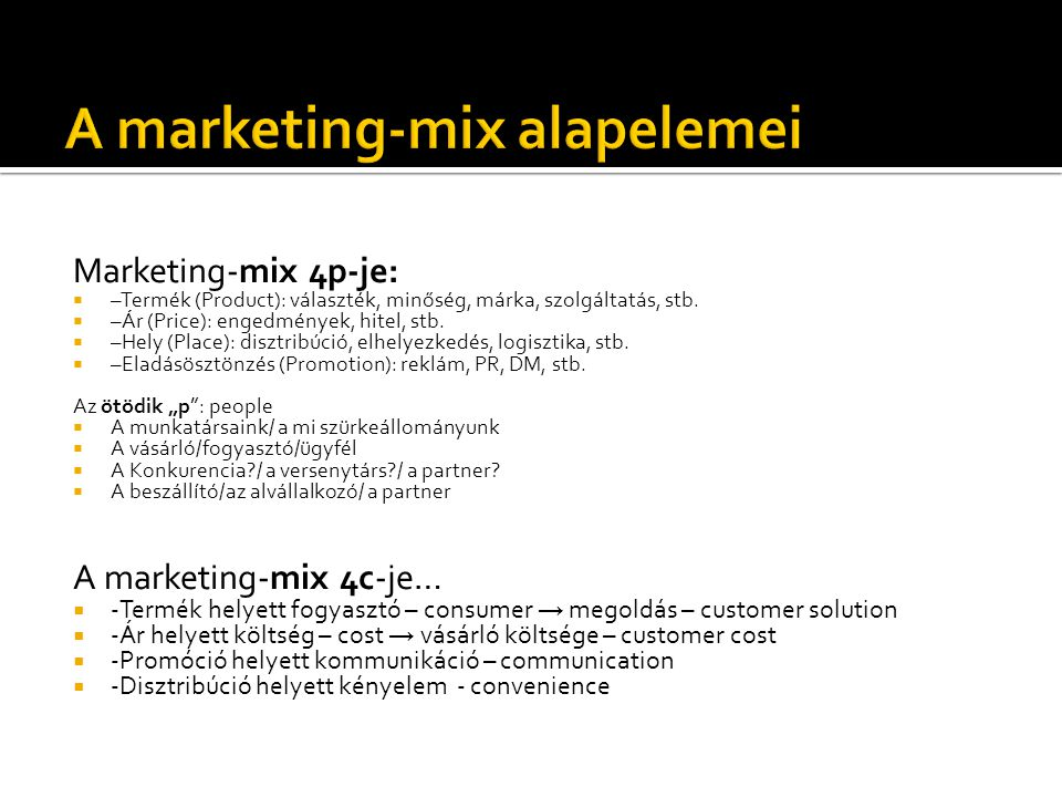 A marketing-mix alapelemei