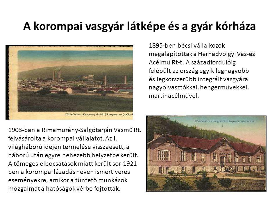A korompai vasgyár látképe és a gyár kórháza