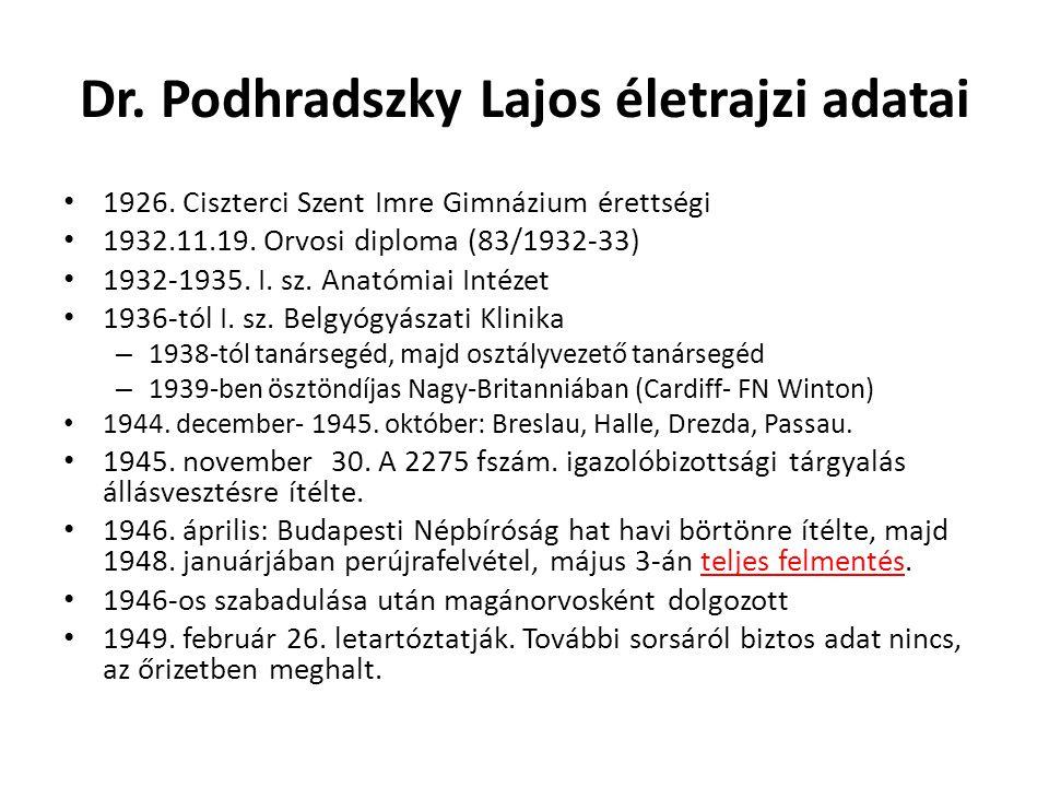 Dr. Podhradszky Lajos életrajzi adatai