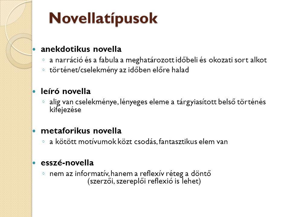 Novellatípusok anekdotikus novella leíró novella metaforikus novella