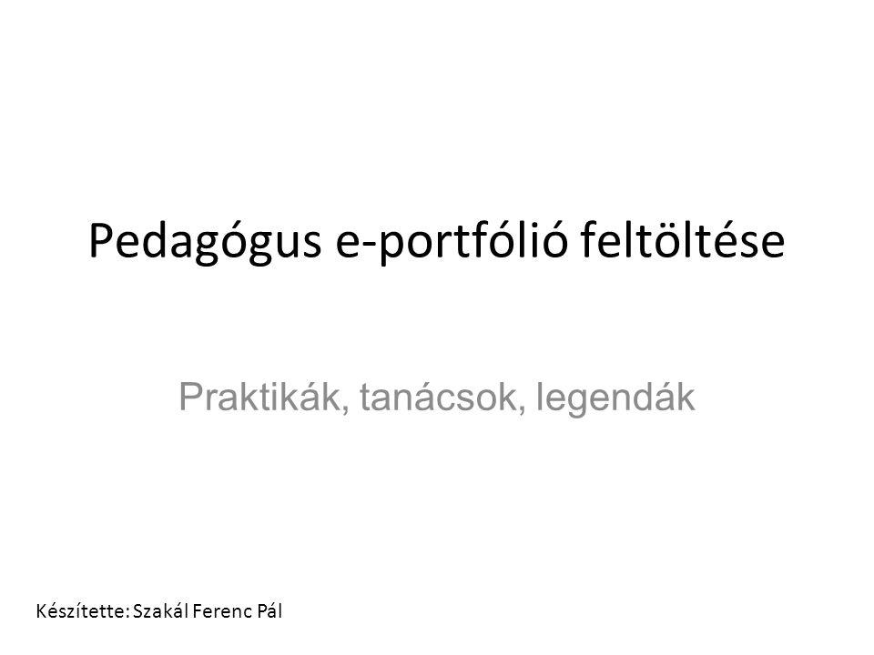 Pedagógus e-portfólió feltöltése