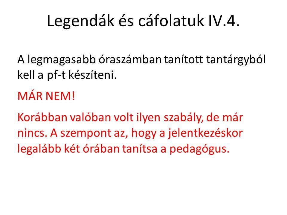 Legendák és cáfolatuk IV.4.