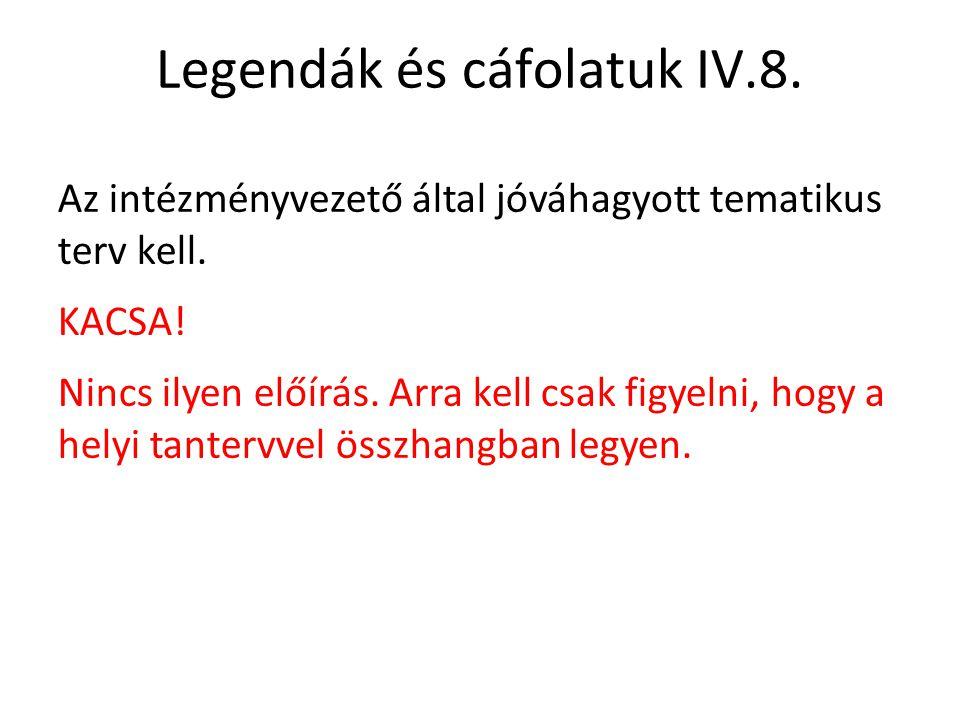 Legendák és cáfolatuk IV.8.