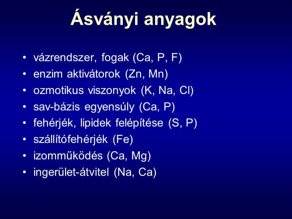 Ásványi anyagok vázrendszer, fogak (Ca, P, F)